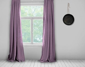 Linen Curtains- Lined- Mauve- Made to Measure Curtains- Bespoke Curtains- Linen Curtains- Purple Curtains- Large Curtains- Pink- Girls Room