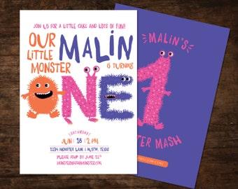 monster birthday invitation, monster invitation, monster birthday, monster party birthday invitation, little monster invitation