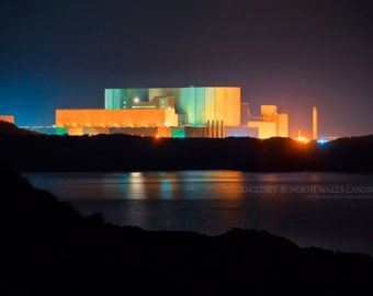 """Photographic print -  """"The Lights are on II"""" - Wylfa power station, Anglesey (code:8192)"""