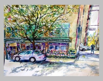 "Original water color painting, Landscape-Vancouver Downtown Florial Shop, 11""x14"""