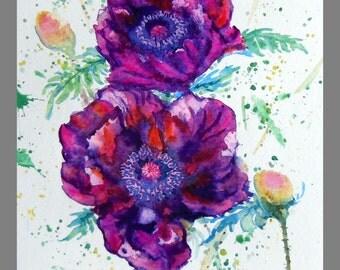 "Original Water color paper, Dark Red Poppy, 10""x8"", 160456"