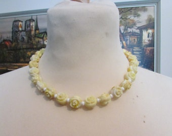1950s carved plastic ivory rose bead necklace
