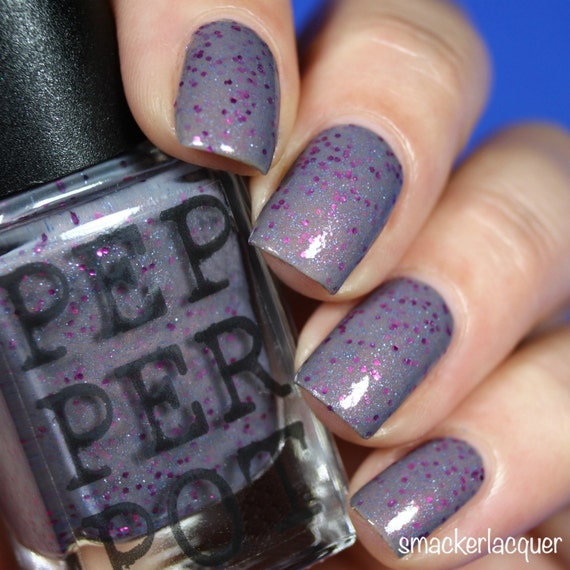 Blue Grey Nail Polish With Pink Glitter Boot & By