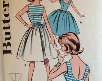 CLEARANCE!!  Butterick 9739 junior missses dress with full skirt size 12 bust 32 vintage 1960's sewing pattern
