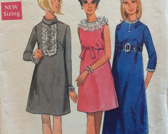 Butterick 4894 misses A-line dress size 16 bust 38 vintage 1960's sewing pattern