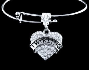 Baton Twirling bracelet  Twirling Crystal Heart bracelet  Twirling charm  Twirling jewelry Twirler bracelet Twirler Charm Twirler Jewelry
