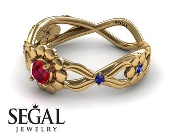 Flower Engagement Ring Yellow Gold Nature Ring Ruby Ring Alternative Engagement Ring Bezel Promise Ring Flower Engagement Ring - Mila