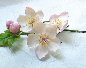 Apple blossom hair pins set-Clay flowers- Flower hair pins - Wedding hair accessories - White flowers for hair