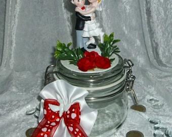 Money gift candy jar money box wedding bride and groom