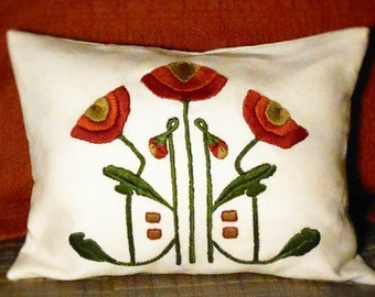 Arts and Crafts Mission Style, Craftsman Hand Embroidery, Poppy Pillow