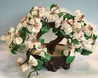 Large Vintage Chinese Handmade Glass Bonsai Tree Agate Jade Asian Flowering Dogwood