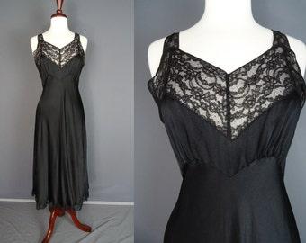 40's Black Silk Bias Cut Dress Slip