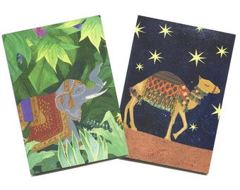 Elephant and Camel Notebook Set, Illustrated by Hutch Cassidy