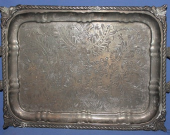 Antique Islamic Floral  Silver Plated Footed Serving Tray