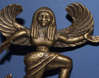 Vintage Hand Made Brass Figurine Woman With Wings