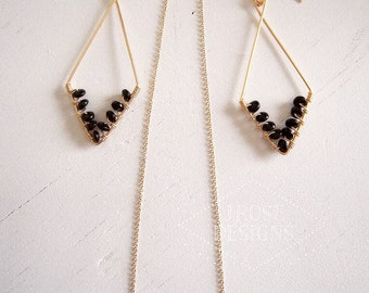 Gold and Black Open Diamond-Shaped Earrings/Necklace Set