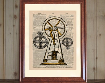 Steampunk Dictionary Print, 3D Steeple Engine Drawing, Print of Antique Engine, Steampunk Wall Art, Steampunk Engine Print on Canvas Panel