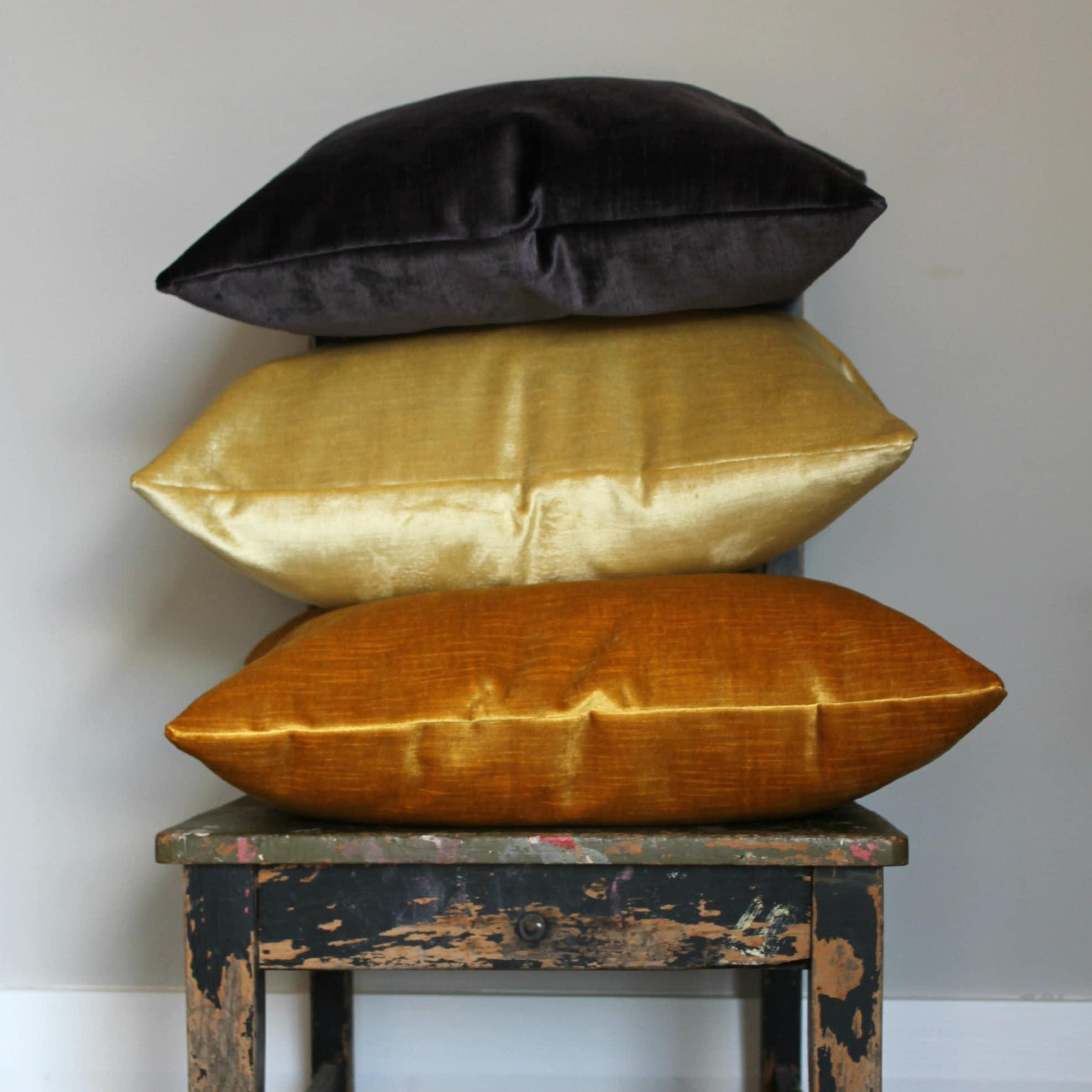lush faux fur throw pillows metallic gold by