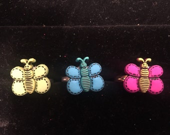 Butterfly children's adjustable rings