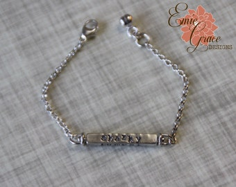 Double Swivel Sterling Silver Bar Bracelet, Stamped Names, Minimalist Jewelry, Personalized