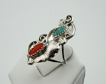 Classic Vintage Southwest Native American Turquoise and Coral Sterling Silver Ring #CORTUR-SR2