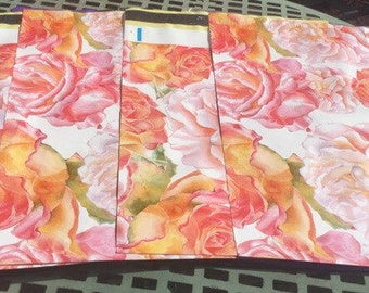 50 Beautiful Pink, Peach Rose Blossoms 10x13 Poly Mailers