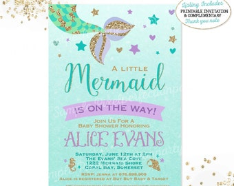 mermaid baby shower  etsy, Baby shower invitation
