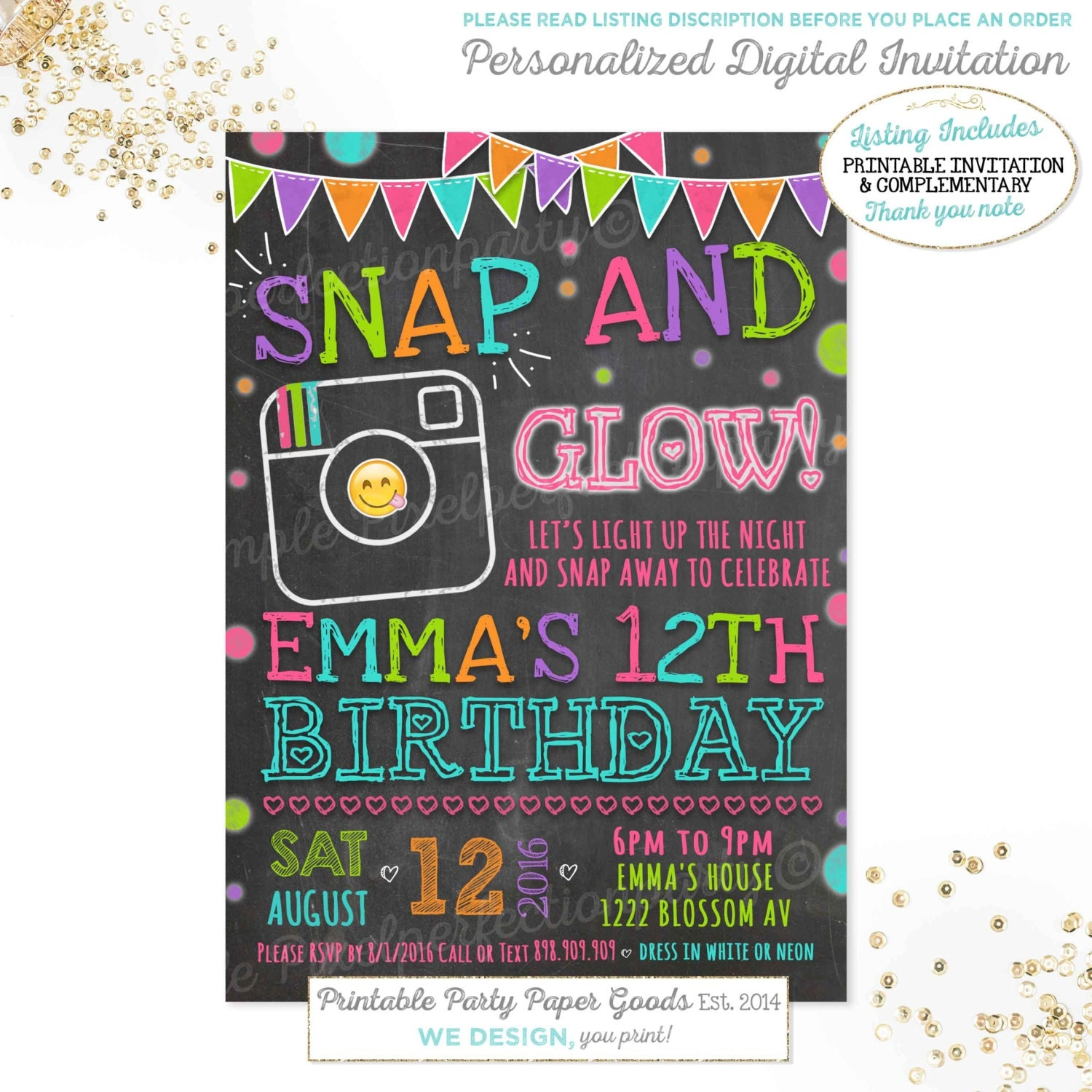 Emoji Birthday Invitation Instagram Birthday Invitation Neon