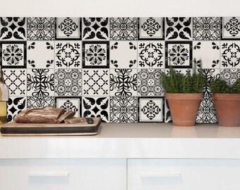 Tile Decals - Tiles for Kitchen/Bathroom Back splash - Floor decals - Mexican Mix Vinyl Tile Sticker 36 Pack color Black