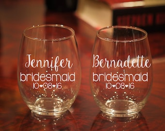 Personalized Wine Glasses, Personalized Bridesmaid Gifts, Bridesmaid Wine Glass With Date, Custom Wine Glasses, Etched Wine Glasses