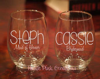 4 Bridal Party Wine Glass, Personalized Bridal Party Glass, Maid Of Honor Glass, Bridesmaid Wine Glass, Personalized Glasses, Set of 4