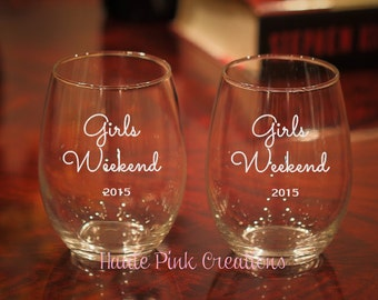 Bachelorette Wine Glasses, Bachelorette Party, Girls Weekend Glasses, Etched Wine Glasses