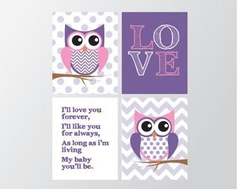 Owl Nursery Decor - Girls Bedroom Art - Nursery Decor - Girls Wall Art - Girl Nursery - Owl Wall Art - Nursery Decor - Purple Wall Art
