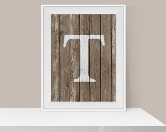 Monogram T Print - Rustic Wall Art - Rustic Home Decor - Wall Decor - Digital Art Print - Typography Print - Letter T Print - Initial Print