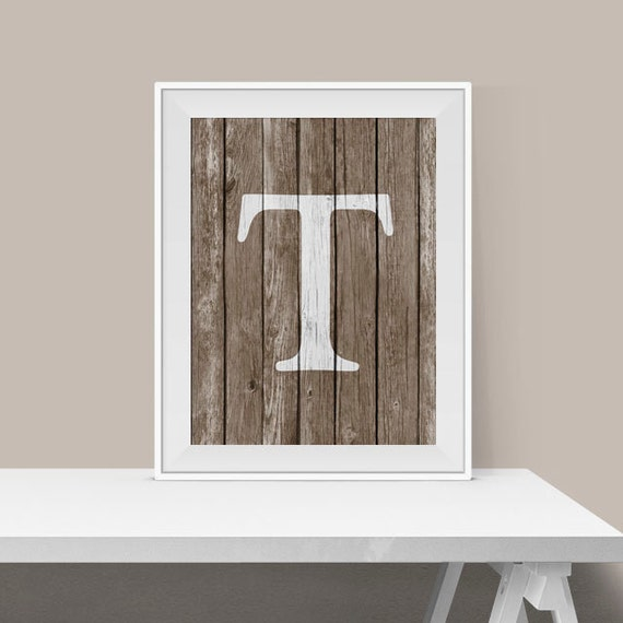 Rustic Monogram Wall Decor : Monogram t print rustic wall art home decor