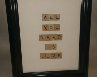 Scrabble tile photo. All You Need Is Love