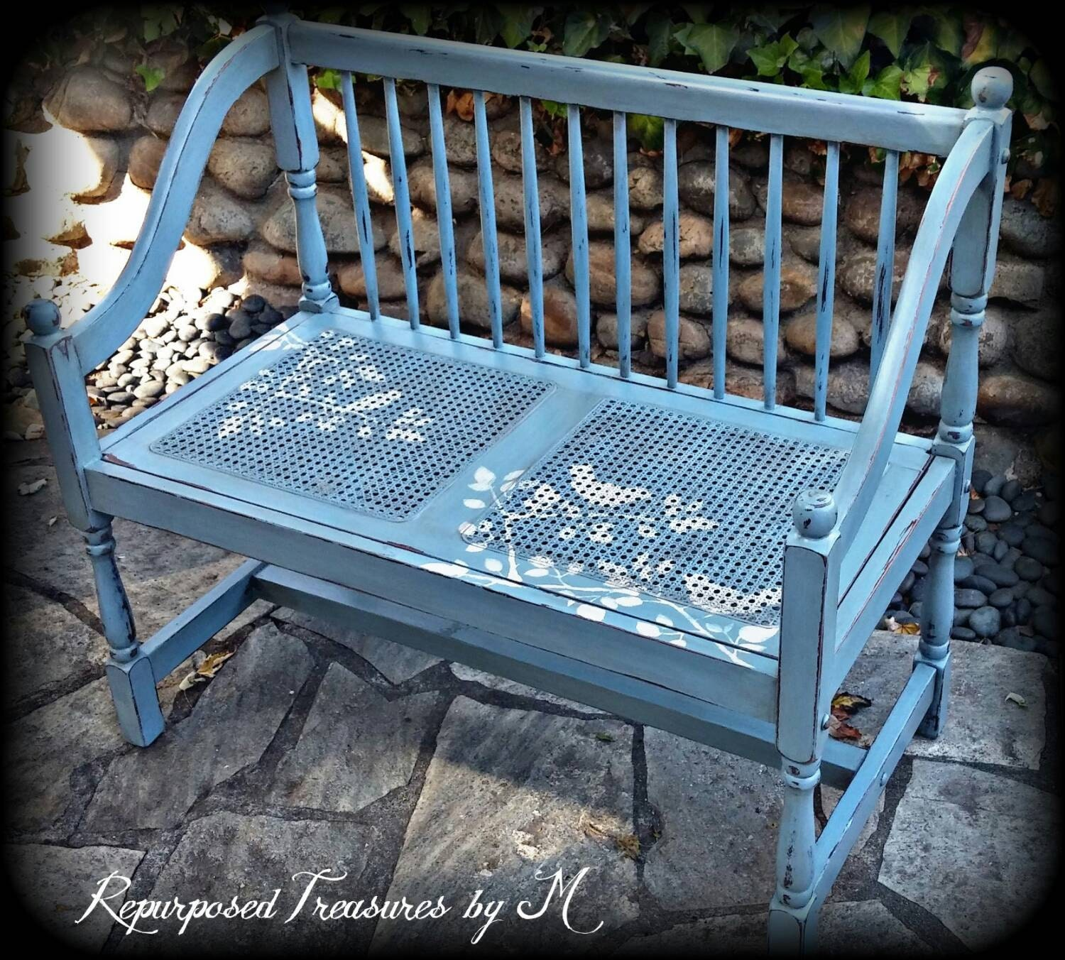 Shabby Chic Bench ~ Vintage bench entryway shabby chic by