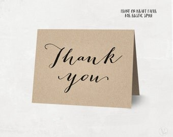 Printable Thank You Card, Rustic Wedding Thank You Card Template, Kraft Thank You Card - Instant DOWNLOAD - 4.25 x 5.5 inches folded, TY06