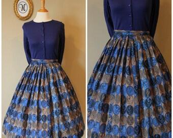 Vintage 1950s ~ 50s Rooster Novelty Skirt