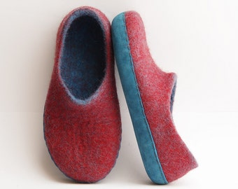 Felted slippers-boiled wool slipper-blue leather-plum color- Ready to ship US 6,5 UK 4 EU 37