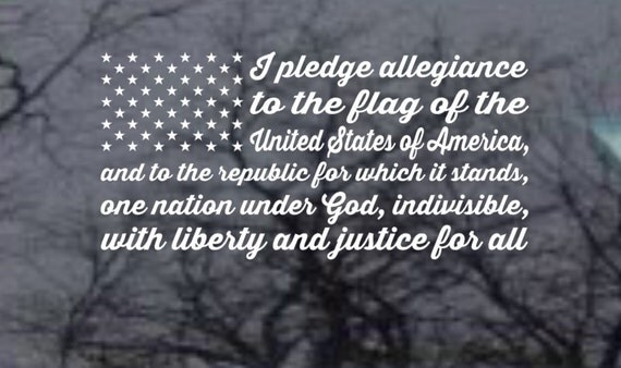 Pledge of Allegiance Car Decal -  American Flag Decal - USA  Patriotic Vinyl Decal