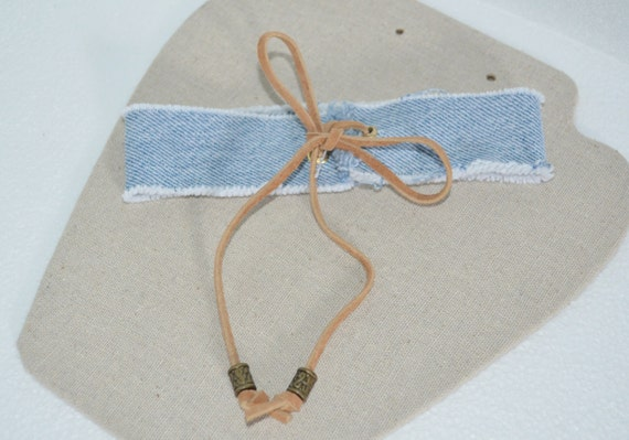 Choker Denim, Jean Choker, Blue Jean Choker with Tan Suede Leather & Bronze Beads