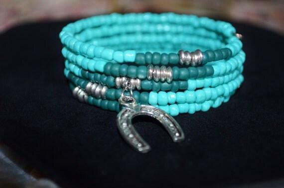 Bracelet Turquoise Memory Wire Wrap with Horseshoe Charm