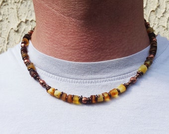Raw Baltic Amber Genuine Copper Beaded Men Necklace Man Choker Amber Necklace Beaded Men Necklace Husband's Gift Boyfriend's Gifts Father's