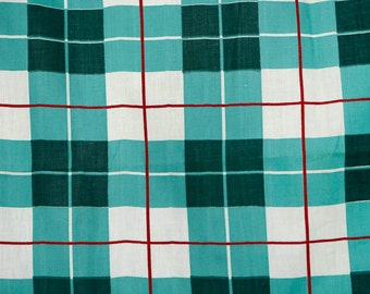 Vintage 50's mint and dark green plaid cotton fabric with red & white