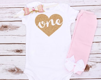 Baby Girl Glitter Gold One Heart First Birthday Appliquéd Onesie and Matching Hair Bow & Leg Warmers