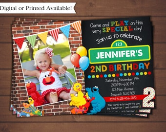 Sesame Street Invitation, Elmo Birthday Invitation