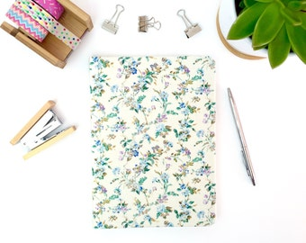 Hardback notebook, A5, fabric covered journal  with lined paper, stationery, workbook