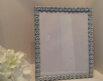 8x10 Picture Frame, Wedding picture frame, rhinestone picture frame, wedding table decorations, table numbers frame
