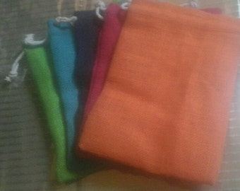 """17 Burlap bags 6"""" x 8"""" assorted colors for candles handmade soap wedding packaging"""